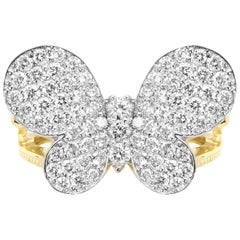 Stambolian 18 Karat Yellow and White Two-Tone Gold Diamond 3D Butterfly Ring