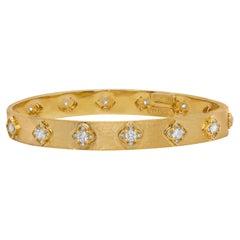 Stambolian 18 Karat Yellow Gold and Diamond Floral Bangle Bracelet