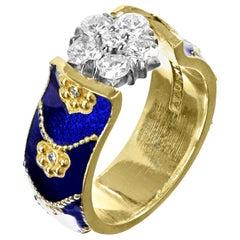 Stambolian 18 Karat Yellow Gold Cobalt Blue Enamel Diamond Cluster Ring