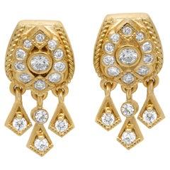 Stambolian 18 Karat Yellow Gold Dangling Diamonds Drop Earrings