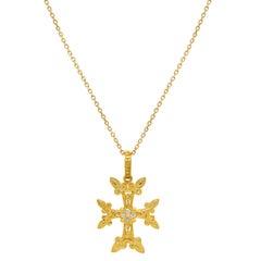 Stambolian 18 Karat Yellow Gold Diamond Armenian Cross Pendant Necklace