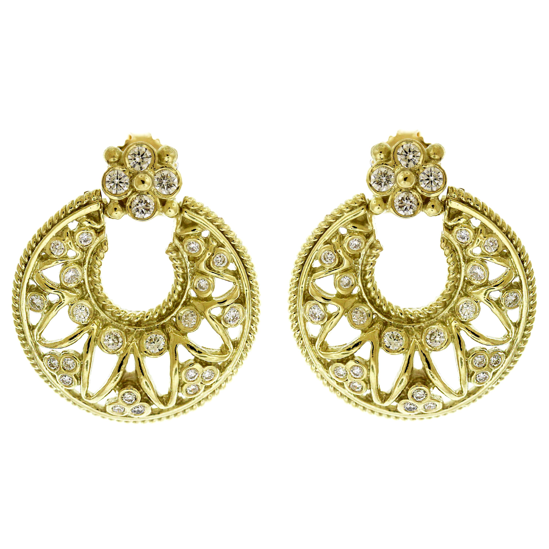 Stambolian 18 Karat Yellow Gold Diamond Doorknob Earrings