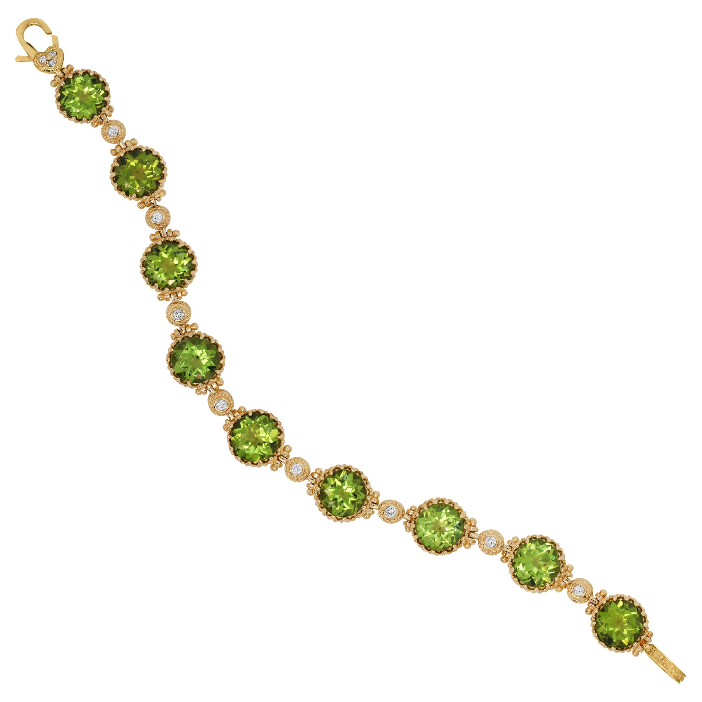 Stambolian 18 Karat Yellow Gold Diamond Round Cut Peridot Tennis Bracelet