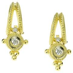 Stambolian 18 Karat Yellow Gold Diamond Round Dangle Drop Earrings
