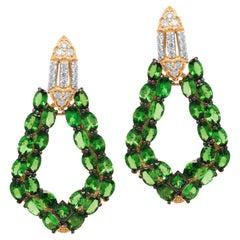 Stambolian 18 Karat Yellow Gold Diamond Tsavorite Drop Dangle Earrings