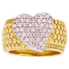 Stambolian 18 Karat Yellow Gold Diamond Wide Band Heart Ring