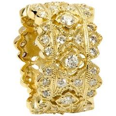 Stambolian 18 Karat Yellow Gold Diamond Wide Band Ring