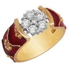 Stambolian 18 Karat Yellow Gold Red Enamel Diamond Cluster Ring