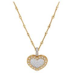 Stambolian 18 Karat Yellow White Gold Diamond Heart Enhancer Pendant Necklace