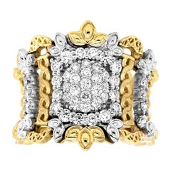 Stambolian 18 Karat Yellow White Gold Pavé Set Diamond Wide Band Ring