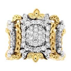 Stambolian 18 Karat Yellow White Gold Pavé Set Diamond Wide Band Ring