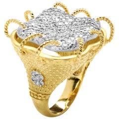 Stambolian 18 Karat Yellow White Gold Pavé Set Diamonds Large Dome Cocktail Ring