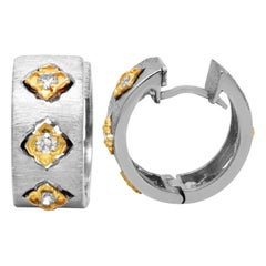 Stambolian 18k Brushed Matte Finish White Yellow Gold Diamond Huggie Earrings