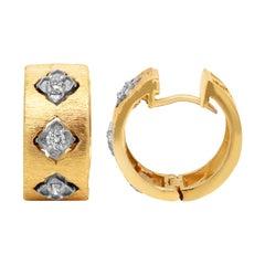 Stambolian 18k Brushed Matte Finish Yellow White Gold Diamond Huggie Earrings
