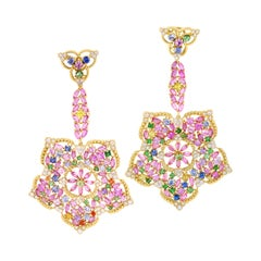 Stambolian 18k Gold Diamond Multi Color Sapphire Floral Motif Drop Earrings