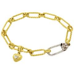 Stambolian 18k Gold Paper Clip Link Rose Cut Round Diamonds Heart Link Bracelet