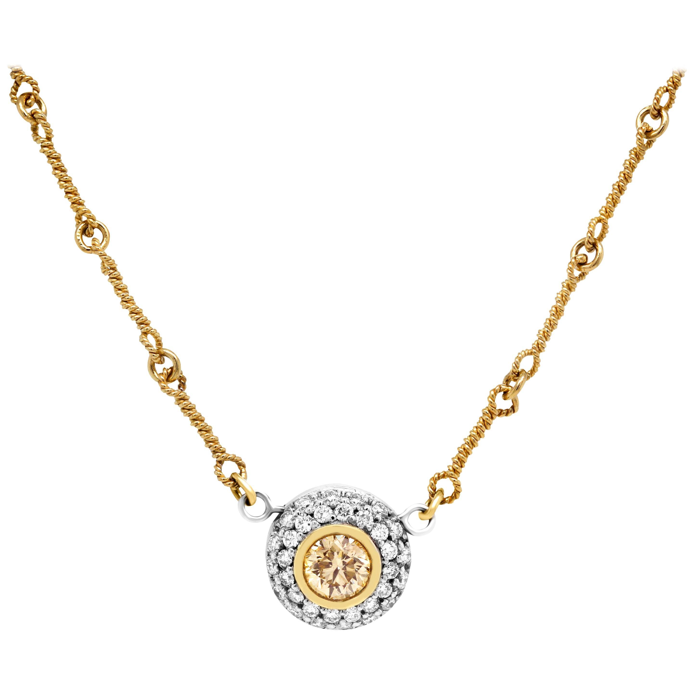 Stambolian 18 Karat Gold Yellow White Diamond Circle Pendant Chain Necklace