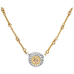 Stambolian 18 Karat Gold Yellow White Diamond Circle Pendant Chain Necklace