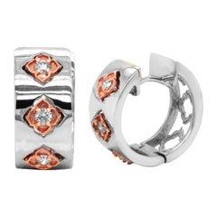 Stambolian 18k High Polished Shiny White Rose Gold Diamond Huggie Earrings