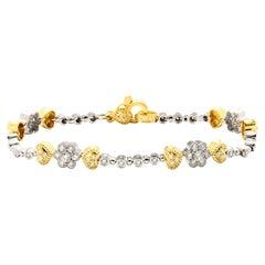 Stambolian 18K Two-Tone Yellow White Gold Diamond Tennis Bracelet