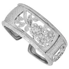 Stambolian 18K White Gold Diamond Hand Engraved Floral Motif Wide Cuff Bracelet