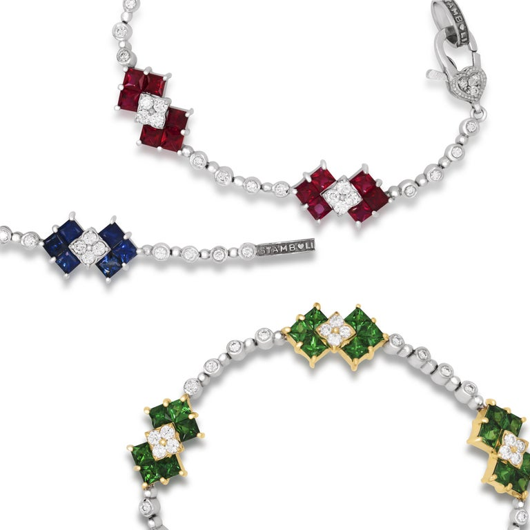 Stambolian 18K White Gold Diamond Princess Cut Ruby Tennis Bracelet In New Condition For Sale In Boca Raton, FL