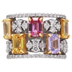Stambolian 18K White Yellow Gold No Heat Multi Color Sapphire Diamond Band Ring