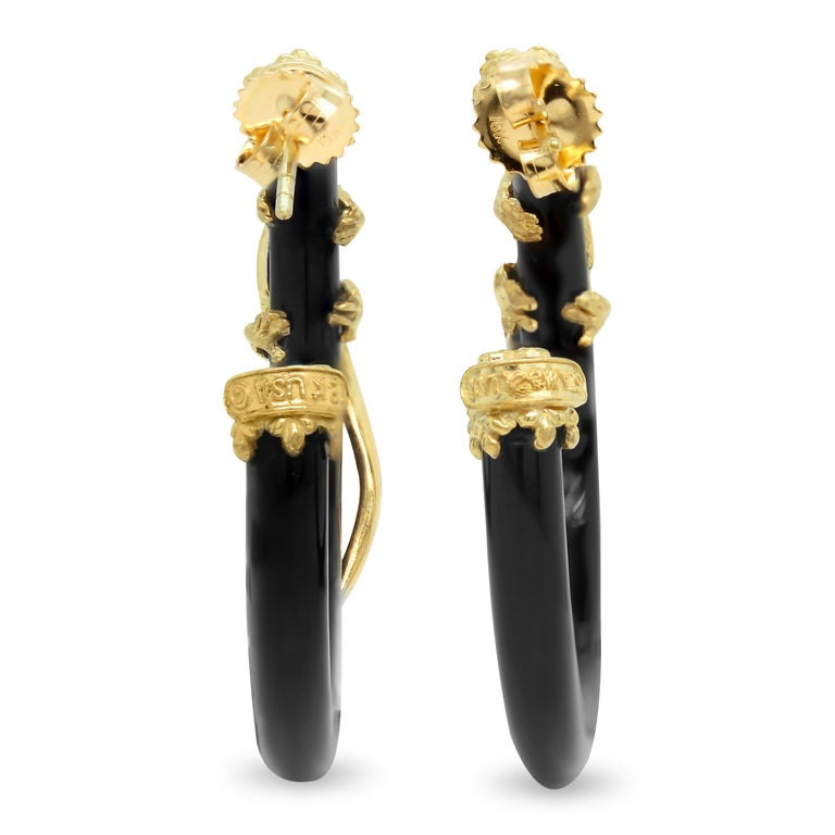 Stambolian 18K Yellow Gold Diamond Black Onyx Tsavorite Lizard Hoop Earrings  These stunning earrings feature two lizards that sit ontop of Onyx hoops all done in diamonds.   0.78 carat G color VS clarity white diamonds are set throughout the entire