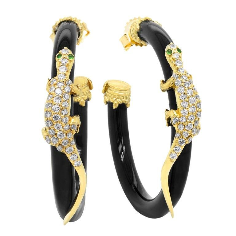 Contemporary Stambolian 18 Karat Gold Diamond Black Onyx Tsavorite Lizard Hoop Earrings For Sale