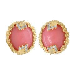 Stambolian 18K Yellow Gold Diamond Peruvian Pink Opal Floral Button Earrings