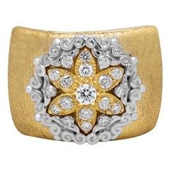 Stambolian 18k Yellow White Gold Diamond Brushed Finish Cigar Wide Band Ring