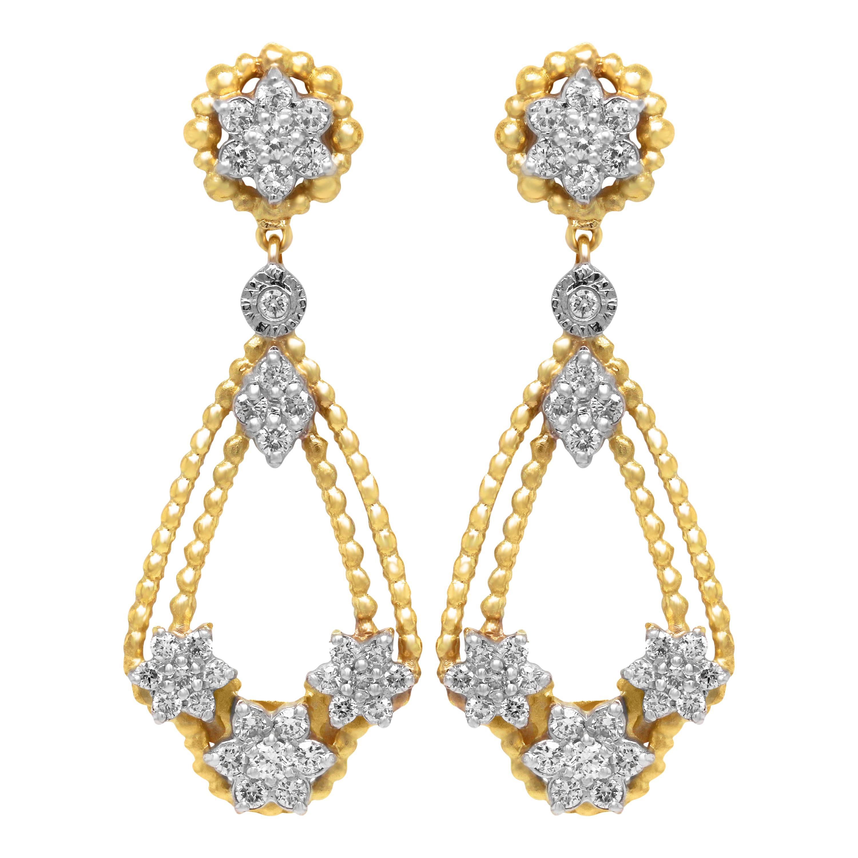 Stambolian 18K Yellow White Gold Diamond Clusters Drop Dangle Earrings