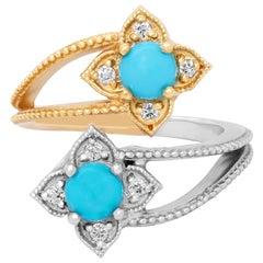 Stambolian 18K Yellow White Gold Diamond Sleeping Beauty Turquoise Bypass Ring