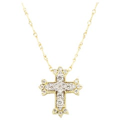 Stambolian 18K Yellow White Gold Diamond Small Cross Pendant Chain Necklace