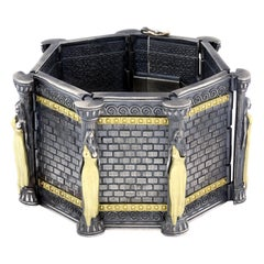Stambolian Aged Darkened Sterling Silver 18 Karat Gold Acropolis Wide Bracelet