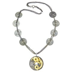 Stambolian Aged Silver 18 Karat Gold Coin Chain Round Dragon Pendant Necklace