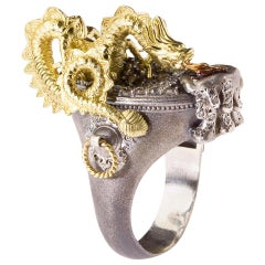 Stambolian Aged Silver 18 Karat Gold Milky and White Diamond Dragon Ring