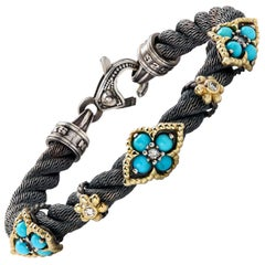 Stambolian Aged Silver 18k Gold Cable Bracelet Sleeping Beauty Turquoise Diamond