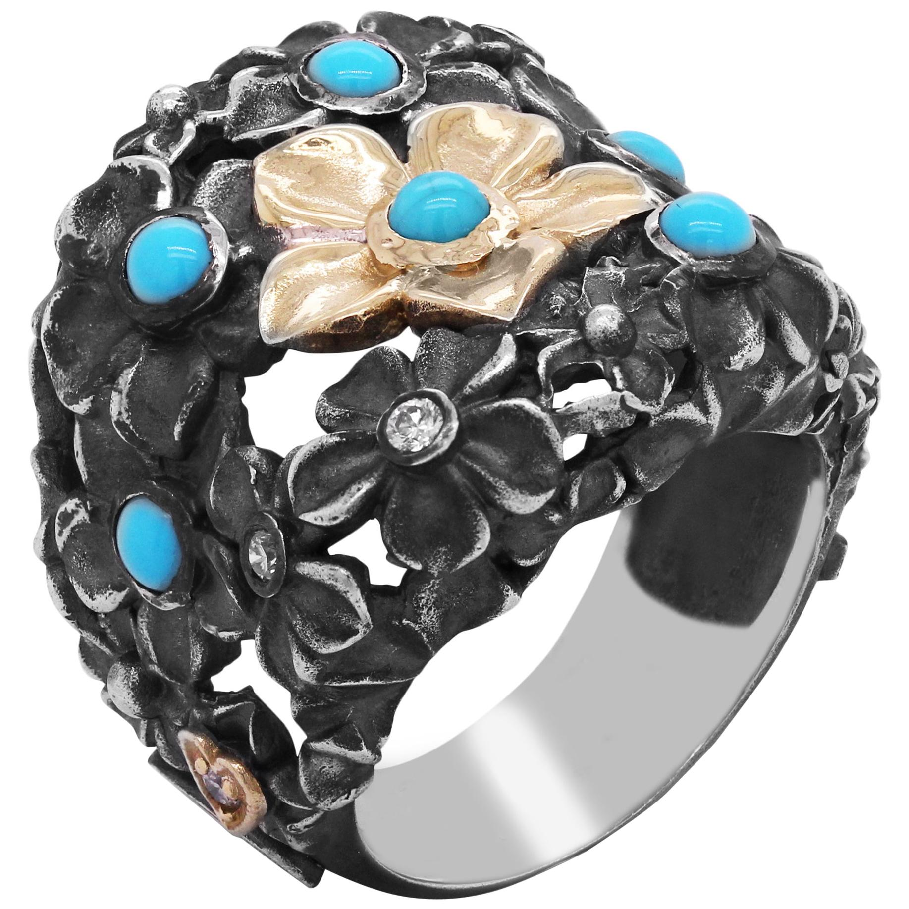 Stambolian Aged Silver and 18 Karat Gold Floral Ring with Turquoise and Diamonds