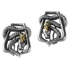 Stambolian Aged Silver and Gold Snake Cufflinks