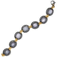 Stambolian Aged Sterling Silver 18K Gold Oval Grey Moonstone Floral Bracelet