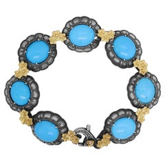 Stambolian Aged Sterling Silver 18K Gold Oval Sleeping Beauty Turquoise Bracelet