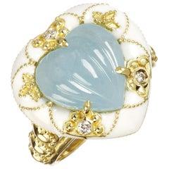 Stambolian Aquamarine and White Enamel Heart Ring Yellow Gold