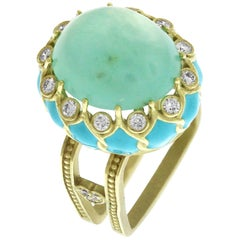 Stambolian Baby Blue Enamel Gold and Diamond Ring with Blue Peruvian Opal Center