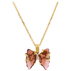 Stambolian Bicolor Tourmaline 18K Yellow Gold Diamond Butterfly Pendant Necklace