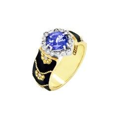 Stambolian Black Enamel Ring with Tanzanite Center and Diamonds