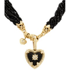 Stambolian Black Onyx and Gold Confetti Heart Pendant with Spinel Beads Necklace