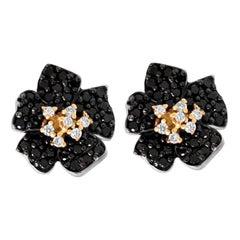 Stambolian Black White Diamond 18K Yellow White Gold Flower Floral Stud Earrings