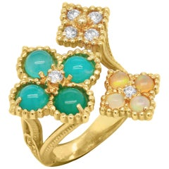 Stambolian Blue Peruvian Opal Diamond Three Section 18K Yellow Gold Floral Ring