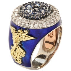 Stambolian Blue Sapphire and Diamond Men's Ring with Blue Enamel